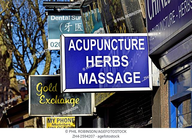 London, England, UK. Chinese acupunture, herbal and massage centre sign