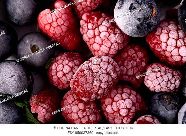 Frozen berries closeup, top view shot