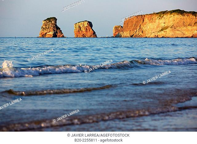 Twin rocks. Beach. Hendaye. Aquitaine. Pyrenees Atlantiques. France