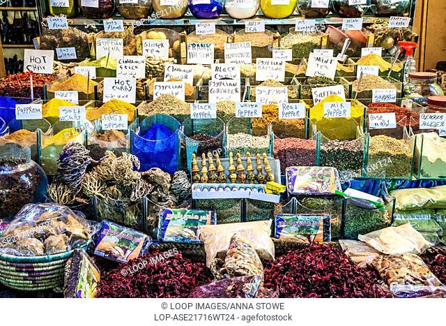 A spice stall in the market or souk in Luxor in Egypt