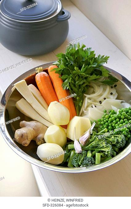 Vegetables and herbs for chicken soup