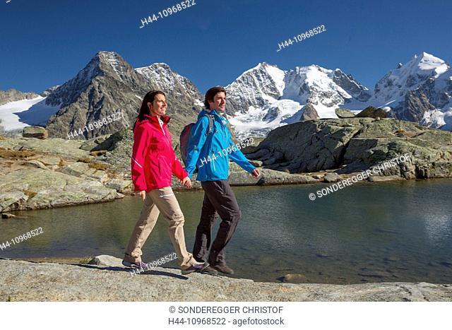 Engadin, Engadine, walking, hiking, Fuorcla Surlej, view, Piz Bernina, Piz Rosegg, mountain, mountains, mountain lake, glacier, ice, moraine, walking, hiking