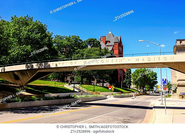 Pedestrian bridge and welcome at the campus entrance of the University of Wisconsin in Madison