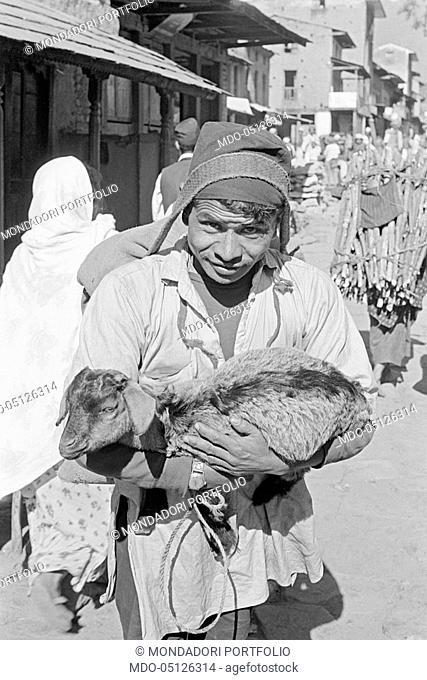 Nepalese man holding a sheep. Nepal, 1965