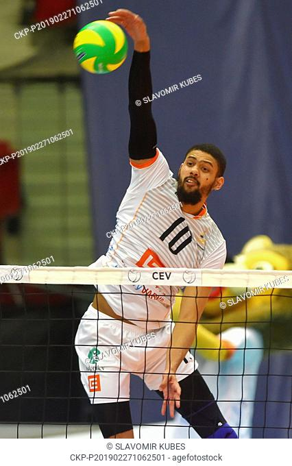 Jalen Penrose (Karlovy Vary) in action during the 6th round group B of volleyball Champions League match Karlovarsko vs Modena in Karlovy Vary, Czech Republic