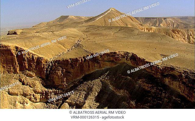 Aerial footage of Hod Aqev near Wadi Zin, Negev Desert