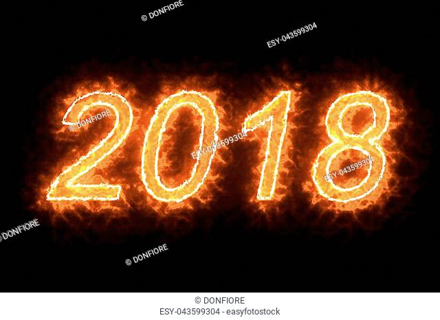 burning 2018 fire word text with flame and smoke in fire on black background with alpha channel, concept of holiday happy new year event