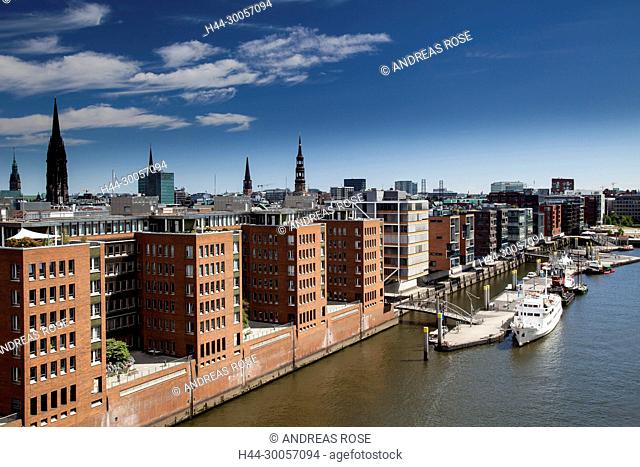 View of new office buildings in the Speicherstadt, Hamburg, Germany