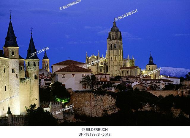Segovia Cathedral and Alcazar, Segovia, Castila and Leon, Spain
