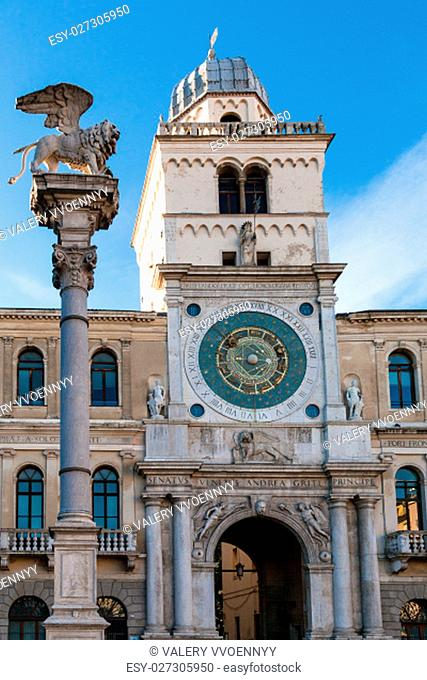 travel to Italy - front view of winged lion column and clock tower of Palazzo del Capitanio in Padua city