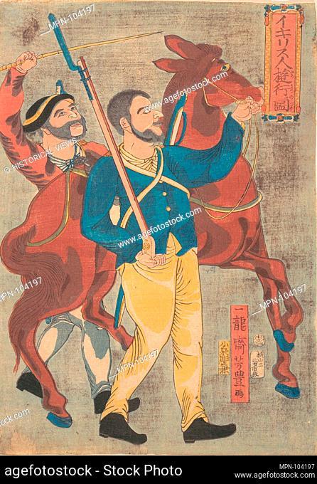 Igirisujin ryoko no zu/Englishman Walking for Pleasure. Artist: Ichiryusai Yoshitoyo (Japanese, 1830-1866); Period: Edo period (1615-1868); Date: 12th month