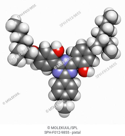 Bemotrizinol sunscreen molecule (UV filter). Atoms are represented as spheres with conventional colour coding: hydrogen (white), carbon (grey), oxygen (red)