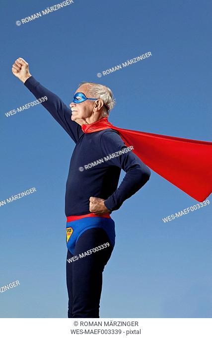 Austria, Burgenland, Senior man in superman's costume