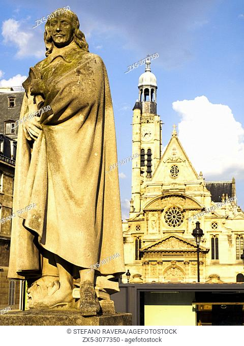 statue of Pierre Corneille (1606-1684) French tragedian and dramatist - Paris, France