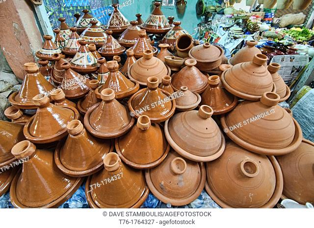 ceramic tajine dishes for sale in the ancient medina in Marrakech, Morocco