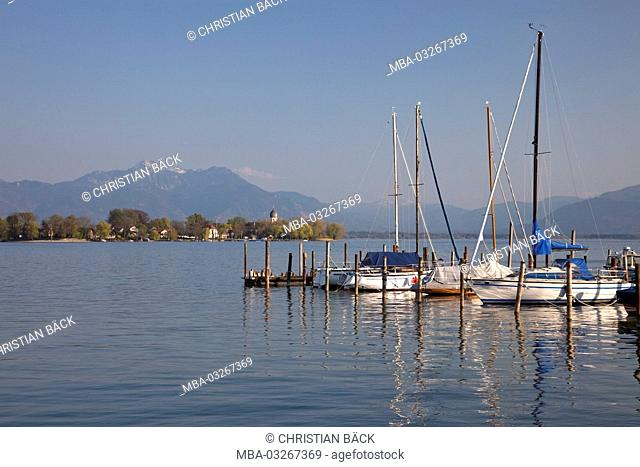 Island Frauenchiemsee in the lake Chiemsee, Chiemgau, Gstadt, Upper Bavaria, Bavaria, South Germany, Germany