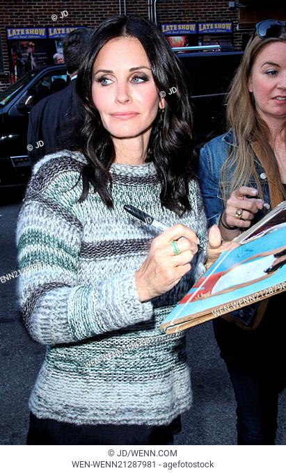 Courteney Cox leaves the Ed Sullivan Theater after appearing on 'The Late Show With David Letterman' Featuring: Courteney Cox Where: New York