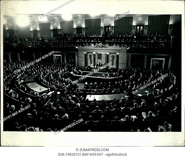 Jan. 01, 1982 - Reagan Would Do Away With Welfare Programs Washington, D.C.: General view of President Ronald W. Reagan as he addressed a Joint Session of The U