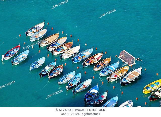 Boats. Vernazza. Cinque Terre. Liguria. Italian Riviera. Italy