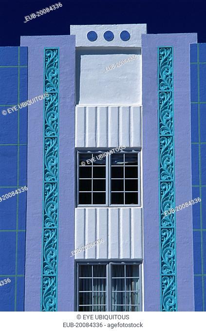 South Beach. Ocean Drive. Park Central Hotel. Detail of Art Deco exterior