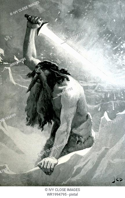 In Norse mythology, Surtr, the flame giant, guarded the frontiers of the world called Muspellsheim, the home of elemental fire