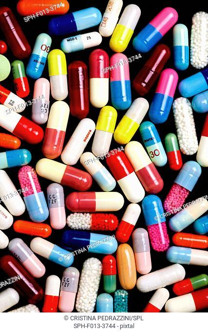 Multicoloured capsules, full frame