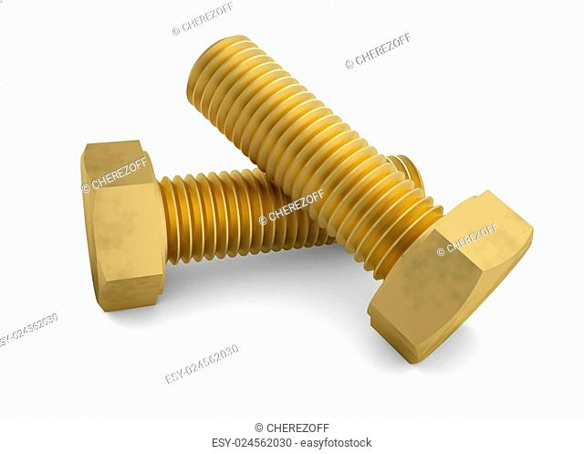 Two brass bolt. Isolated render on a white background