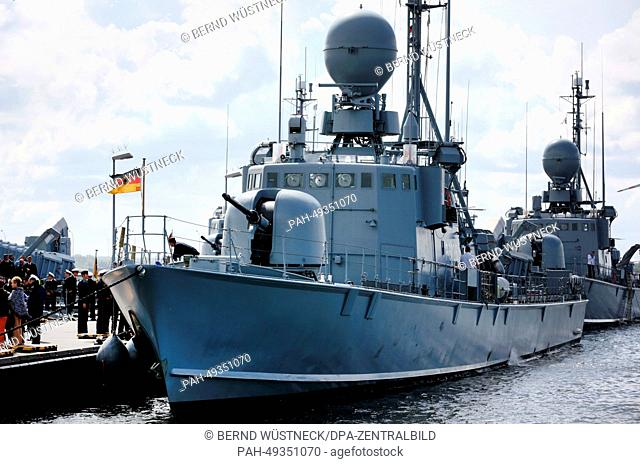 Speedboat 'Frettchen' is moored at the naval base of Rostock-Warnemuende, Germany, 13 June 2014. The speedboat was part of the UNIFIL mission of the United...