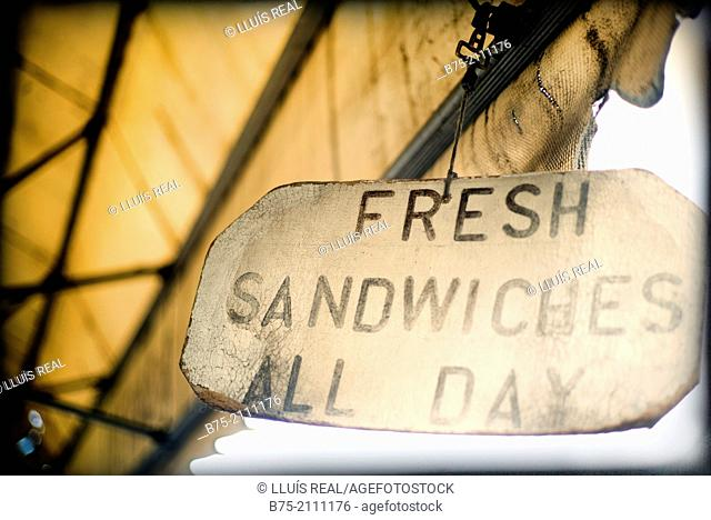 Fresh sandwiches all day ad on a facade in a village. Yorkshire Dales, England, UK, Europe