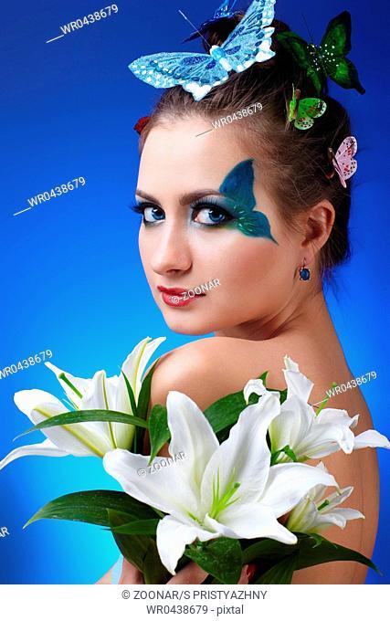 girl with butterfly bodyart