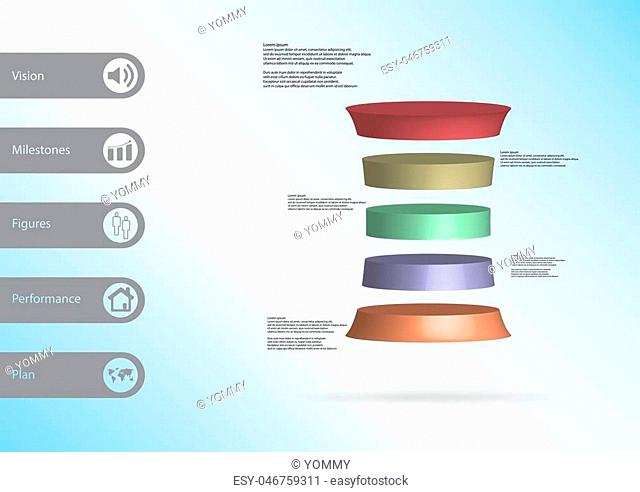 3D illustration infographic template with motif of deformed cylinder horizontally divided to five color slices with simple sign and sample text on side in bars