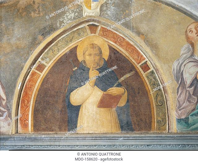 St Peter the Martyr Enjoins Silence, by Guido di Pietro (Piero) known as Beato Angelico, 1438 - 1446 about, 15th Century, fresco, cm 108 x 145