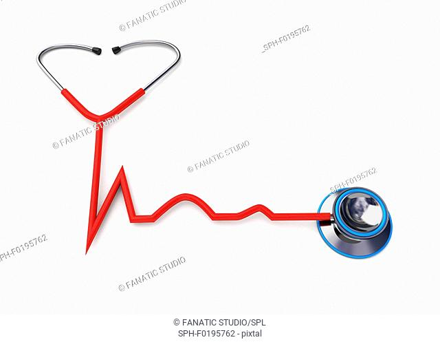 Stethoscope forming a heartbeat shape, illustration
