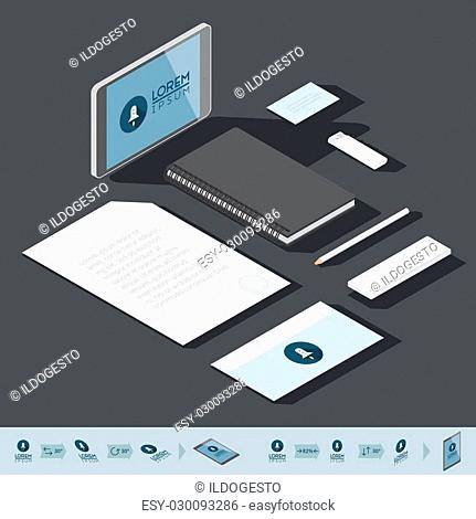 Corporate identity mock-up template. Flat isometric design. Vector illustration