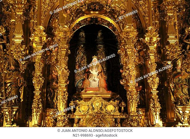 Interior of the Iglesia Colegial del Divino Salvador. El Divino Salvador Collegiate Church. Detail of the  Virgen de las Aguas reredos