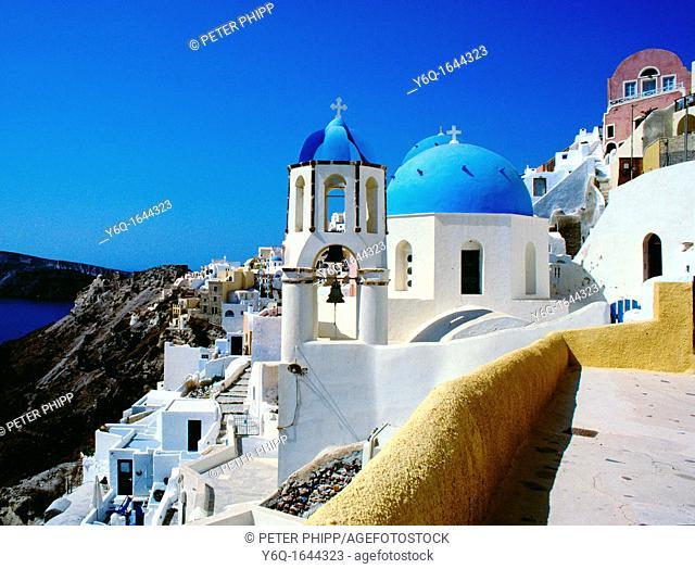 Santorini in the Cyclades  churches at Ios