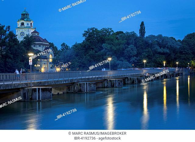 Isar at dusk, Wehrsteg and Müller'sches Volksbad at the left, Munich, Bavaria, Germany
