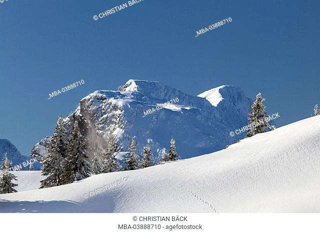 view from the Idealhang at Brauneck mountain to the wintry Benediktenwand (mountain), Lenggries, Upper Bavaria, Bavaria, Germany