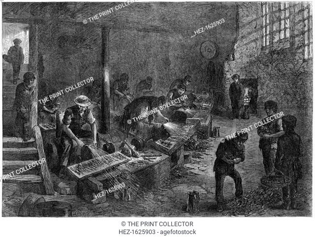 Hull of the fork-grinders, Sheffield steel manufactures, 1866. A print from the Illustrated London News, 10th March 1866