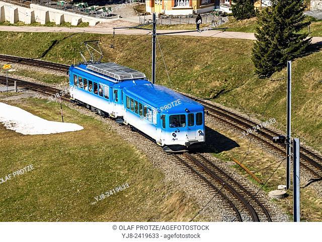 Rigi train, run by Rigi Railways, going up Mt. Rigi (Rigi-Bahnen), Vitznau, Switzerland