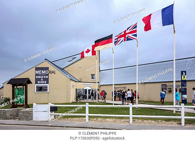School children visiting the Memorial World War II Museum at Quinéville, Manche, Normandy, France