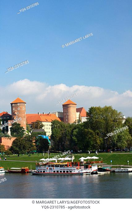 Wawel Castle and The Vistula River on a sunny, beautiful day in Krakow, Poland, Europe