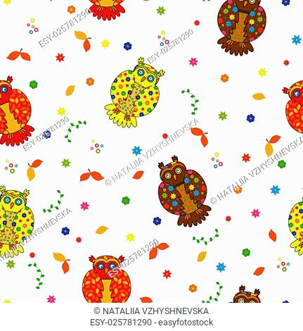 Seamless vector illustration with various multicolor stylized owls