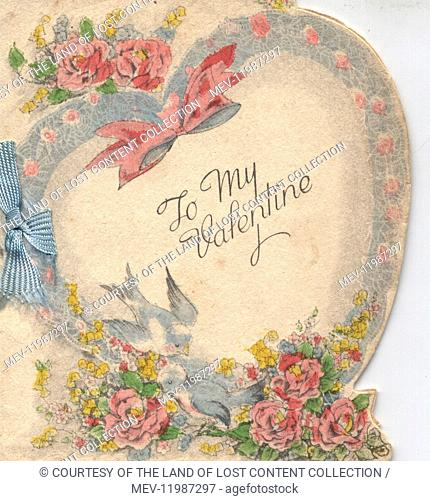 Cards - 1930's, Valentines card, illustration, doves, flowers, hearts, ribbon