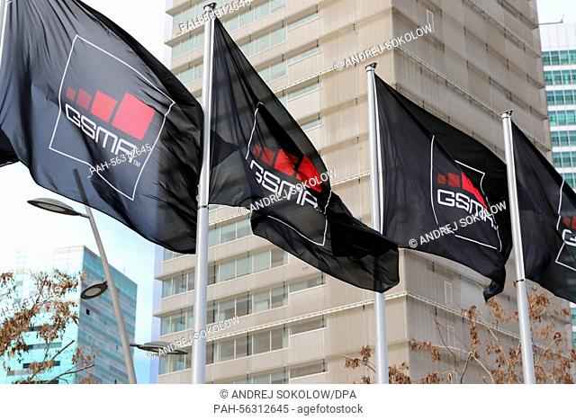 Flags of the exhibition organisers GSMA outside the exhibition centre before the Mobile World Congress in Barcelona, Spain, 28 February 2015