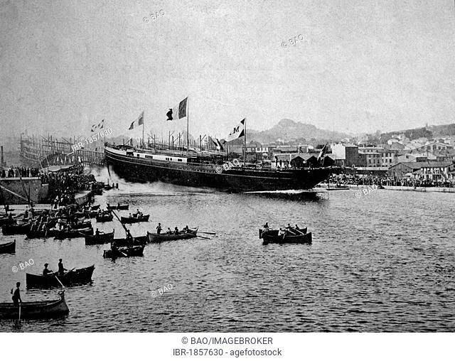 Early autotype of a ship's launch on the Seine river, France, historical picture, 1884