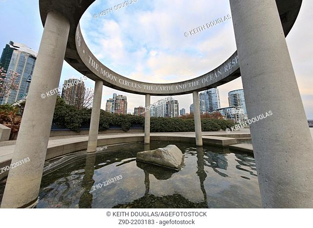 Public art installation called 'Marking High Tide and Waiting for Low Tide' by artist Don Vaughan, David Lam Park, False Creek shoreline, Vancouver, BC, Canada