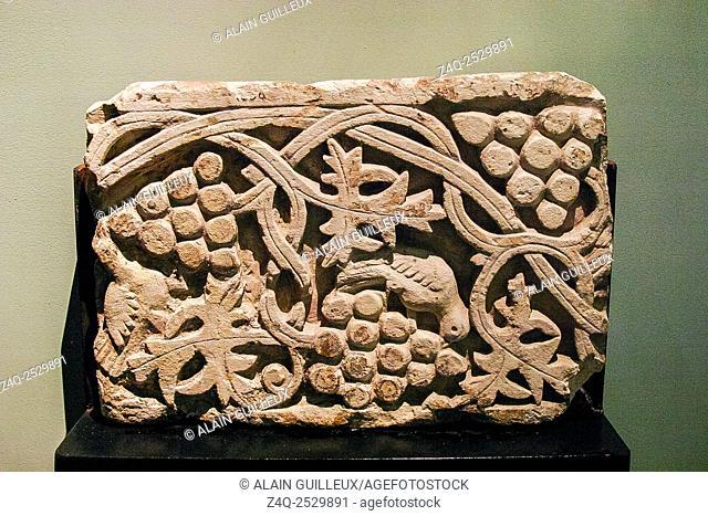 Egypt, Alexandria, National Museum, Coptic art, limestone frieze with fruits and plants