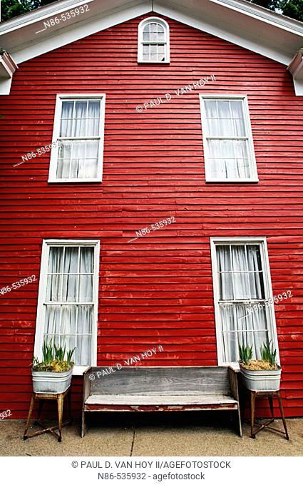 Red historic building in New Harmony. Indiana, USA