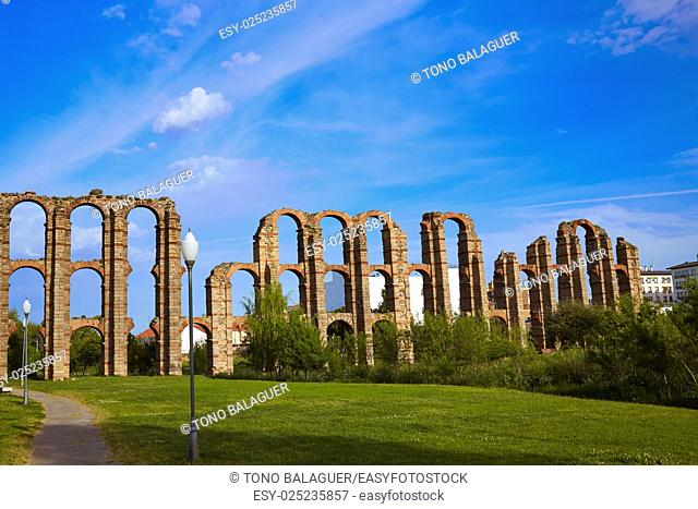 Acueducto Los Milagros in Merida Badajoz aqueduct at Extremadura of Spain